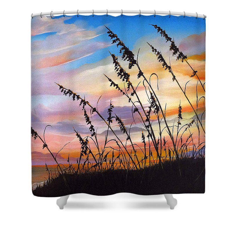 Ocean Painting Shower Curtain featuring the painting Sunset Fort Desoto Beach by Karin Dawn Kelshall- Best