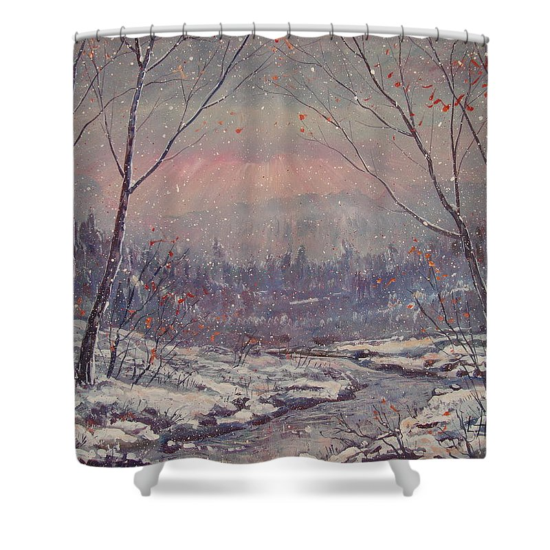 Landscape Shower Curtain featuring the painting Sunset In Winter. by Leonard Holland