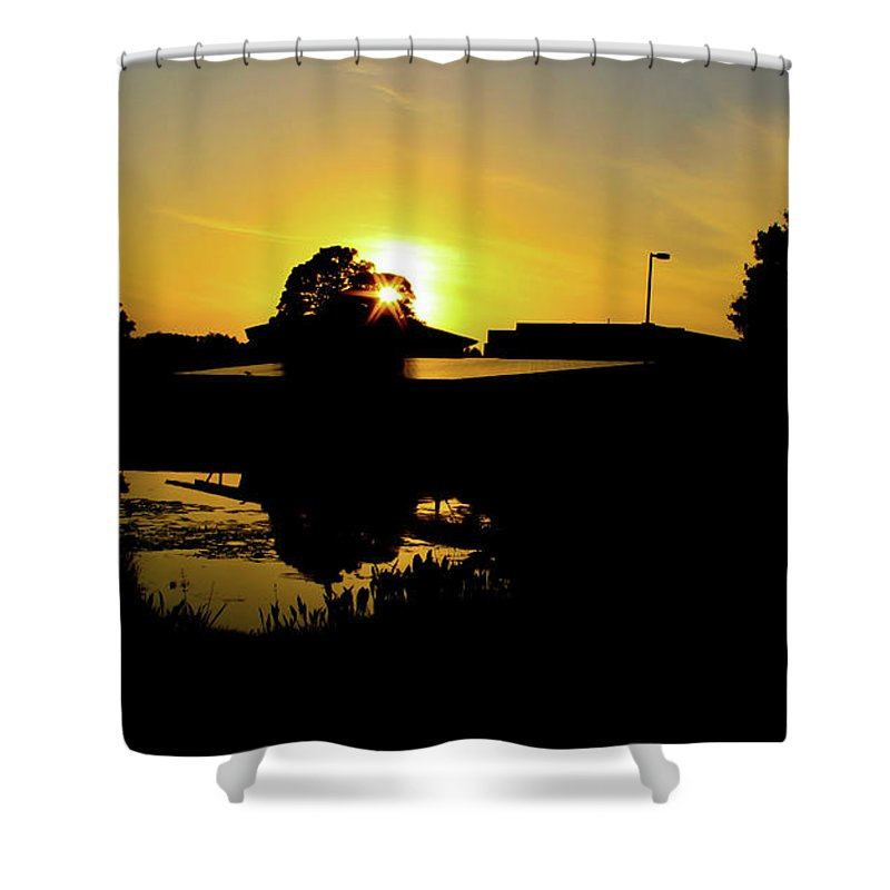 Landscape Shower Curtain featuring the digital art Sunset over Building by Daniel Cornell