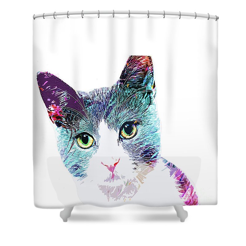 Cat Shower Curtain featuring the digital art Sweet Cat Lady by Trindira A
