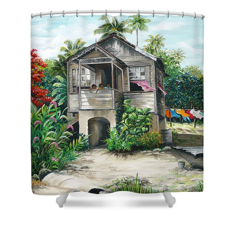 Landscape Painting Caribbean Painting House Painting Tobago Painting Trinidad Painting Tropical Painting Flamboyant Painting Banana Painting Trees Painting Original Painting Of Typical Country House In Trinidad And Tobago Shower Curtain featuring the painting Sweet Island Life by Karin Dawn Kelshall- Best