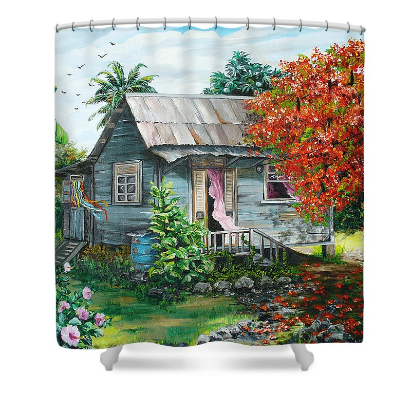 Caribbean Painting Original Painting Trinidad And Tobago ..house Painting Flamboyant Tree Painting Red Blossoms Painting Floral Painting Tree Painting Tropical Painting Shower Curtain featuring the painting Sweet Tobago Life. 2 by Karin Dawn Kelshall- Best