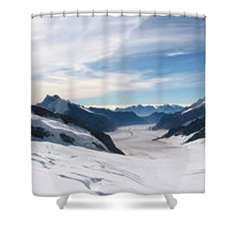 3scape Shower Curtain featuring the photograph Swiss Alps by Adam Romanowicz