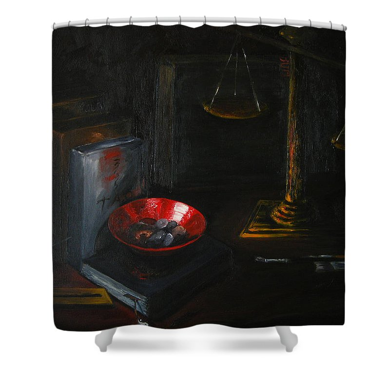 Art Shower Curtain featuring the painting Symbols Of Life by Patricia Awapara