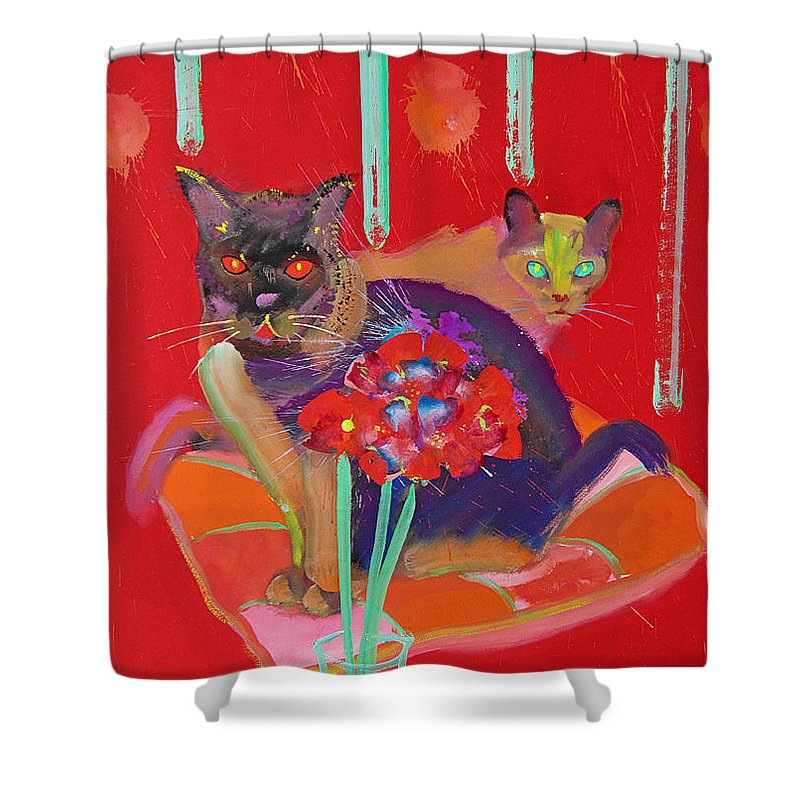Burmese Cat Shower Curtain featuring the painting Symphony In Red Two by Charles Stuart