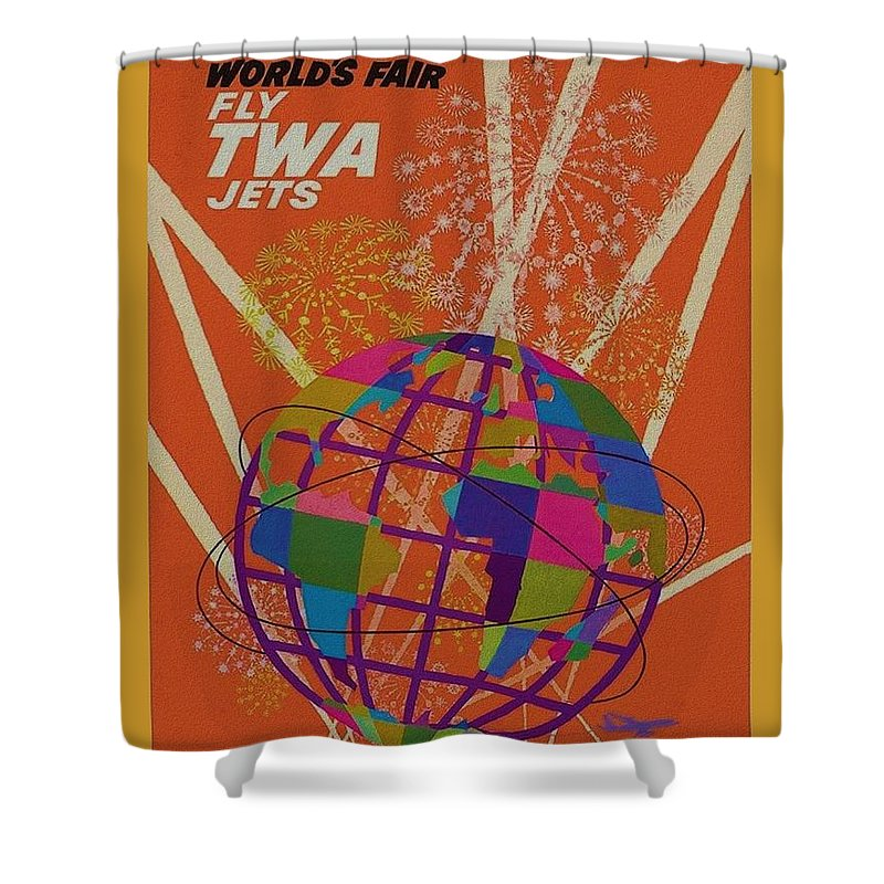 New York Worlds Fair Shower Curtain featuring the photograph T W A New York World Fair by Rob Hans