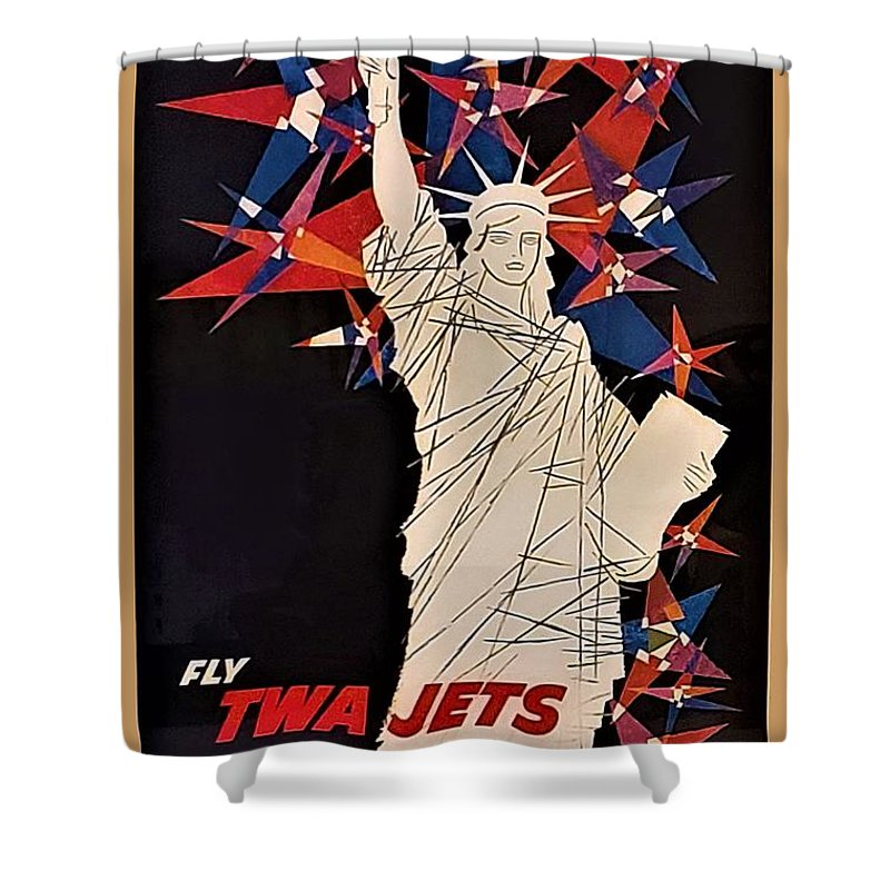 Statue Of Liberty Shower Curtain featuring the photograph T W A Statue Of Liberty by Rob Hans