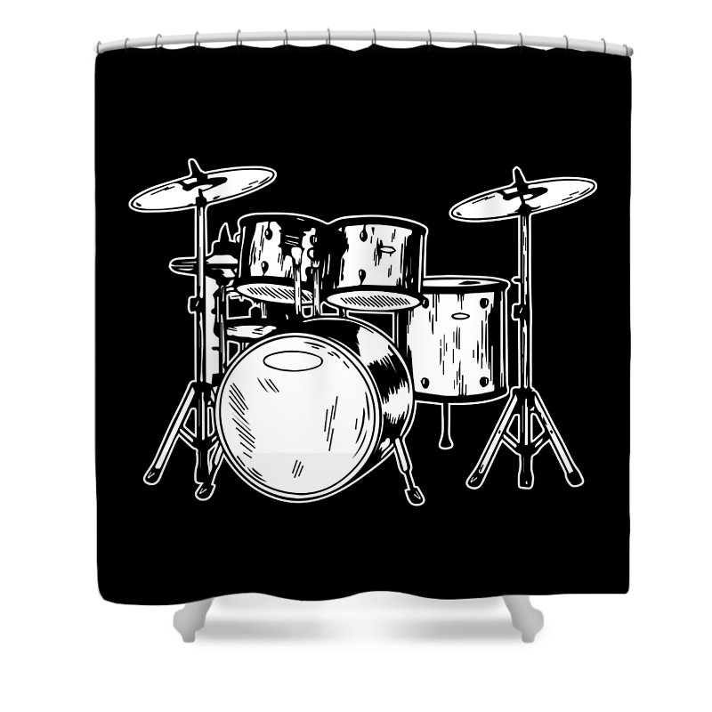 Drummer Shower Curtain featuring the digital art Tempo Music Band Percussion Drum Set Drummer Gift by Haselshirt