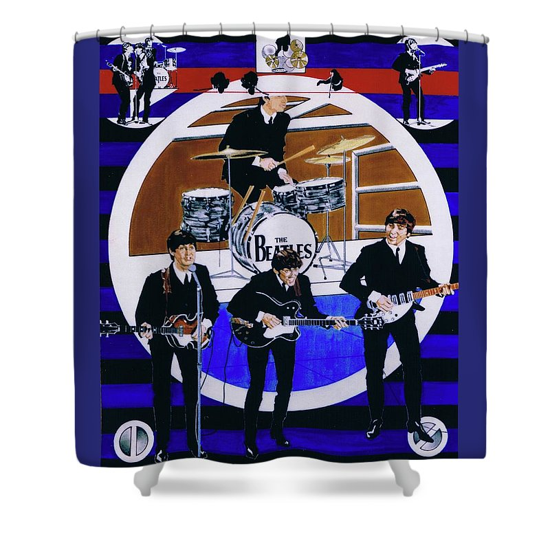 The Beatles Live Shower Curtain featuring the drawing The Beatles - Live On The Ed Sullivan Show by Sean Connolly