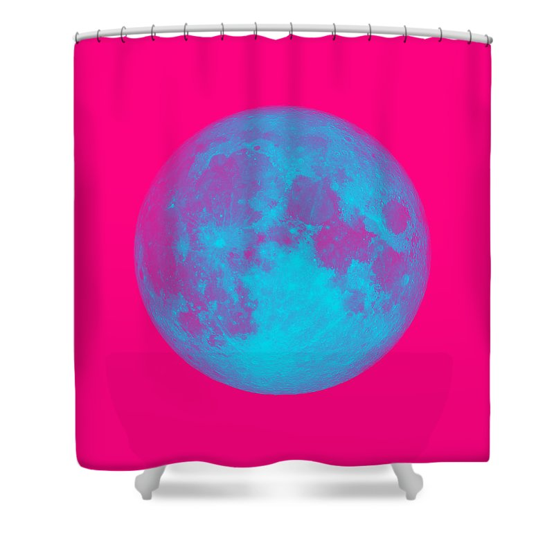 The Bright Side Of The Pink Moon Shower Curtain featuring the digital art The Bright Side Of The Pink Moon by Ahmet Asar