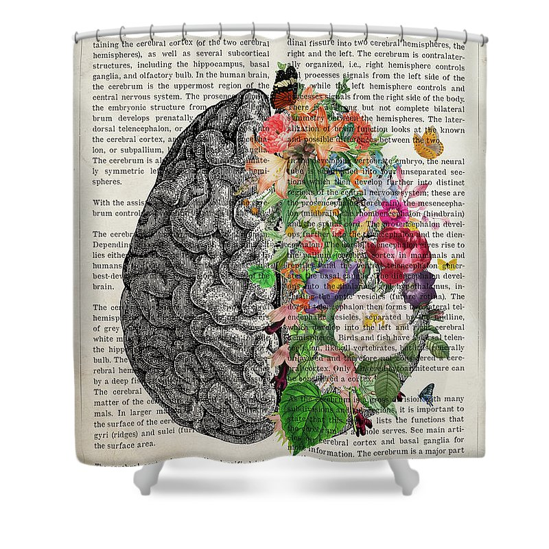 Cerebrum Shower Curtain featuring the digital art The Cerebrum with Flowers by Aged Pixel