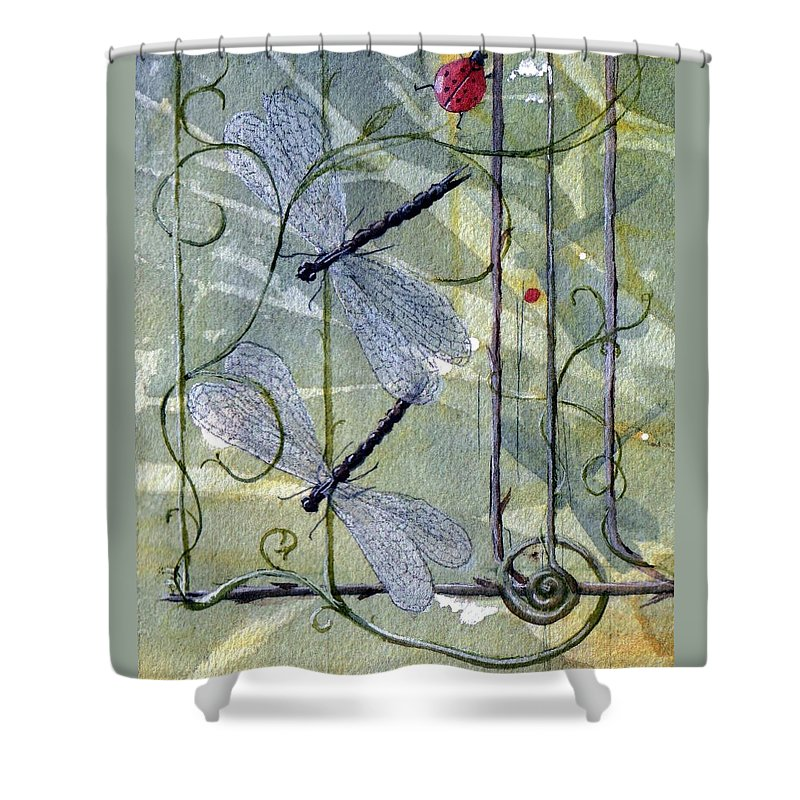 Fantasy Shower Curtain featuring the painting The End of the Odyssey by Jackie Mueller-Jones