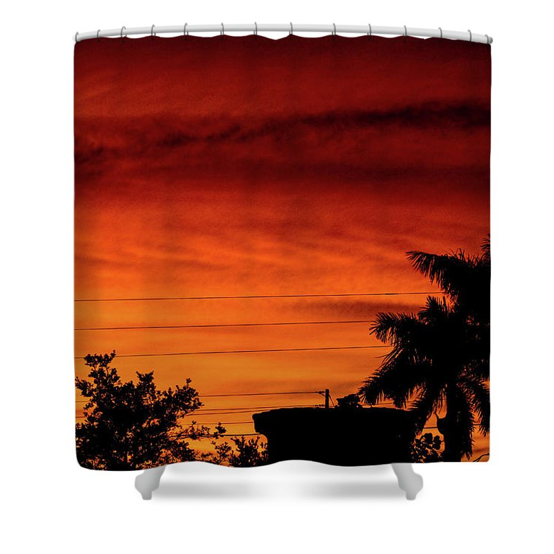 Sunset Shower Curtain featuring the photograph The Fire sky by Daniel Cornell