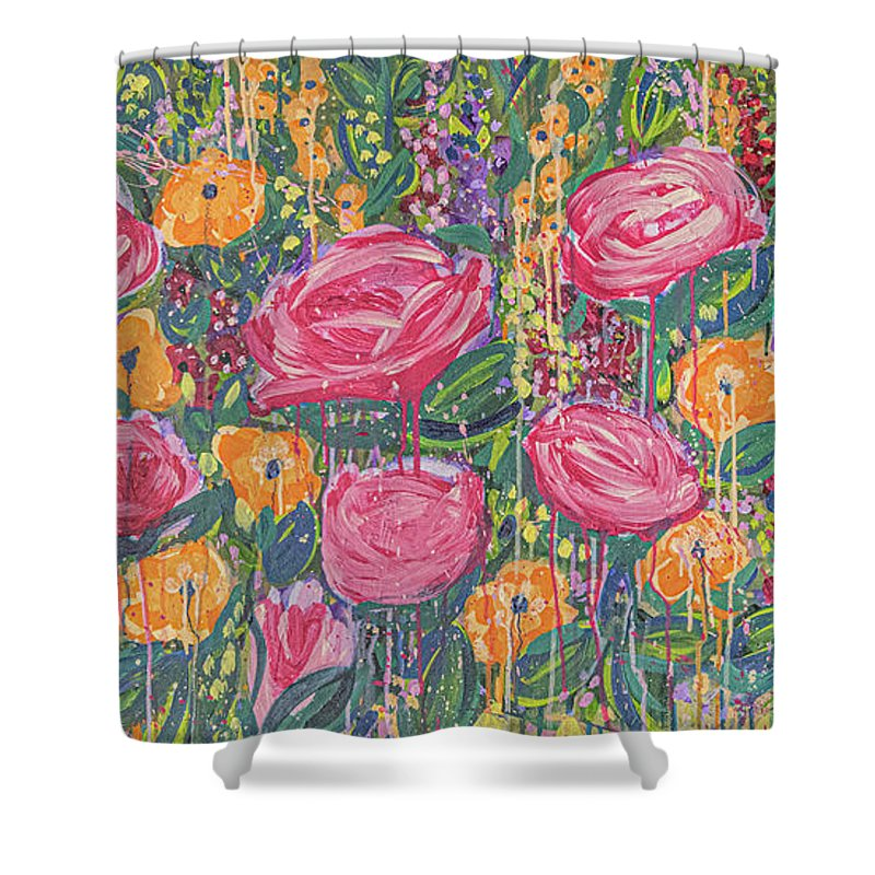 English Garden Shower Curtain featuring the painting The Garden by Amanda Armstrong