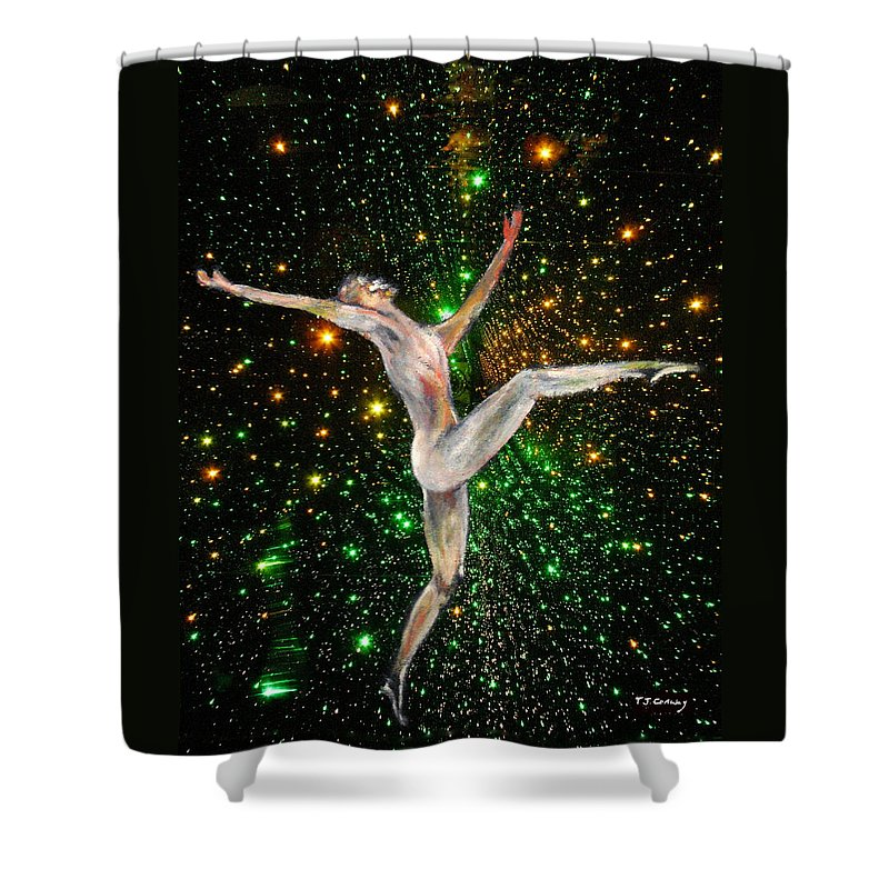 Dance Shower Curtain featuring the painting The Light Fantastic Dance and Stars by Tom Conway