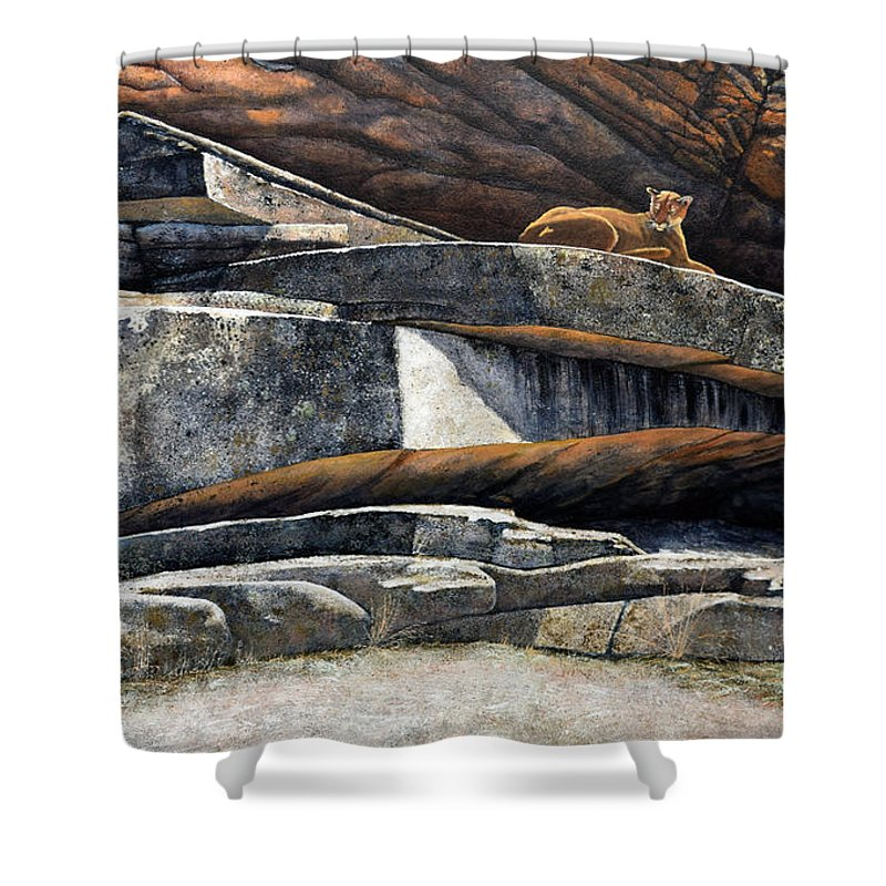 Wildlife Shower Curtain featuring the painting The Loner Cougar by Frank Wilson
