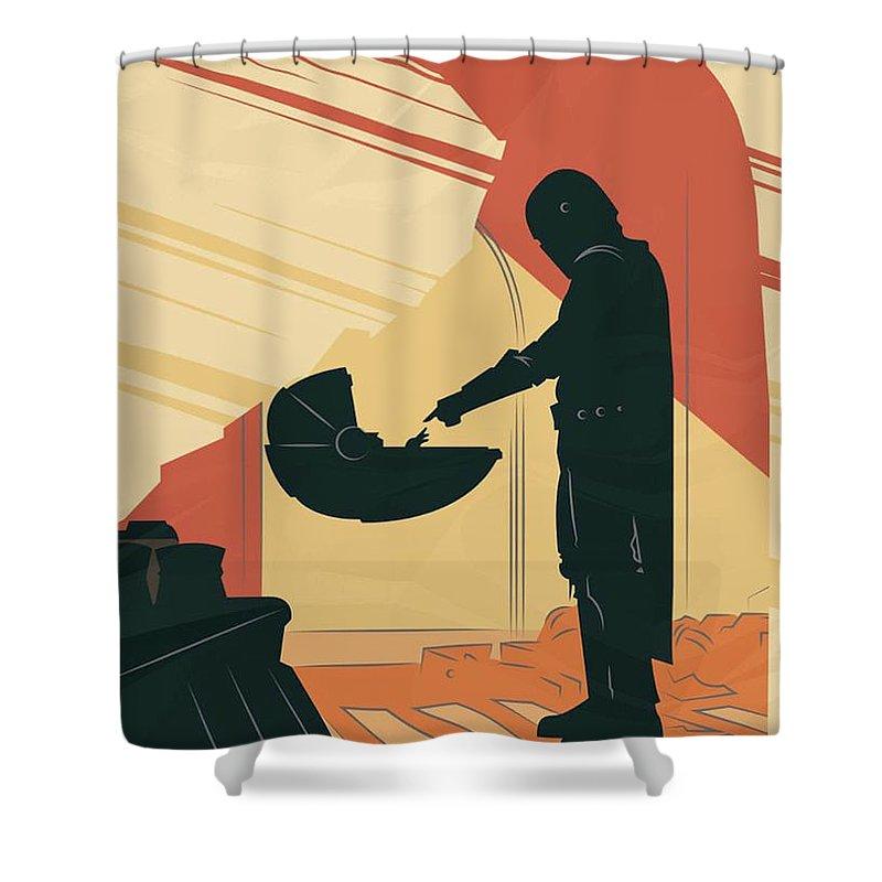 Star Wars Shower Curtain featuring the digital art The Mandalorian Baby Yoda by Trindira A