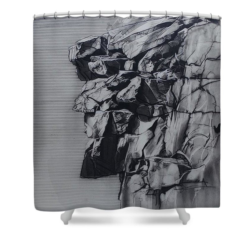 Charcoal On Paper Shower Curtain featuring the drawing The Old Man Of The Mountain by Sean Connolly