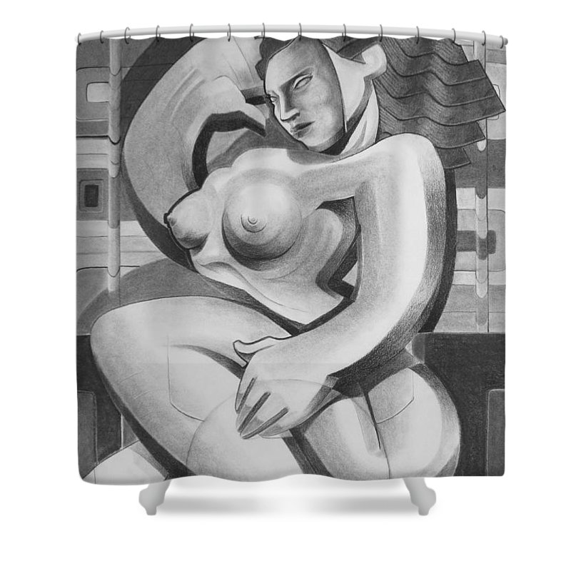 Art Shower Curtain featuring the drawing The Pose by Myron Belfast