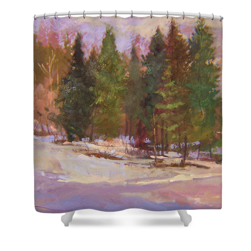 Plein Air Painting Shower Curtain featuring the painting The Road Home Plein Air by Betty Jean Billups
