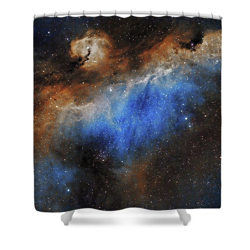Astronomy Shower Curtain featuring the photograph The Seagull Nebula by Prabhu Astrophotography