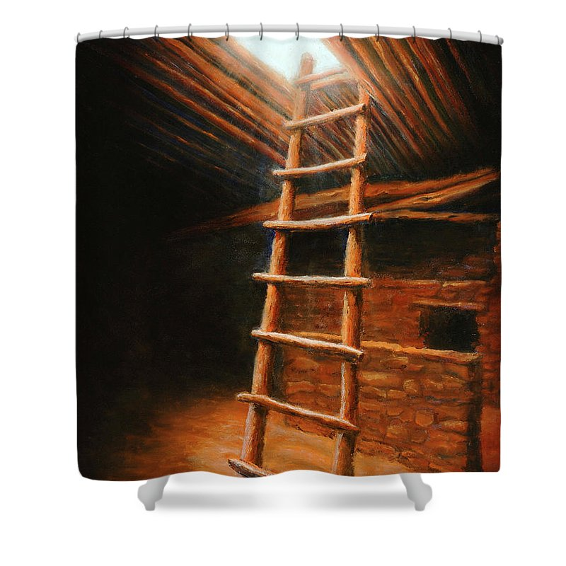 Kiva Shower Curtain featuring the painting The Second World by Jerry McElroy