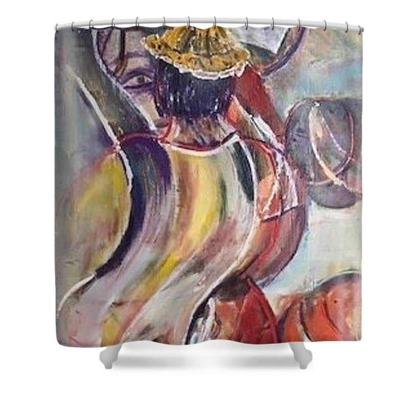 Demonstration Shower Curtain featuring the painting The Time is Now by Peggy Blood
