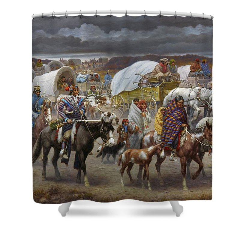 1838 Shower Curtain featuring the painting The Trail Of Tears by Granger