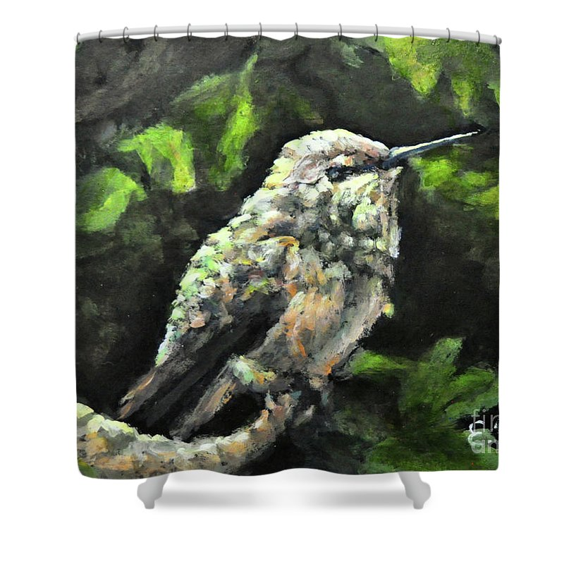 Hummingbird Shower Curtain featuring the painting This Hummingbird Loves my Green Tree Maple by Eileen Fong