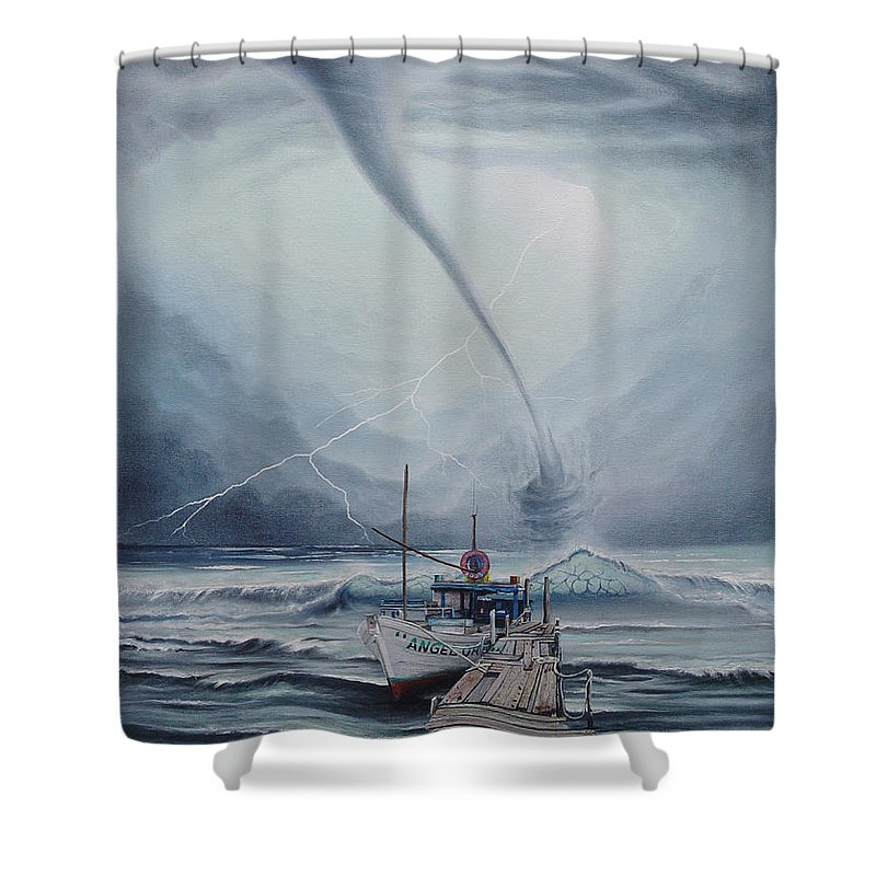 Seascape Shower Curtain featuring the painting Tifon   water sprout by Angel Ortiz