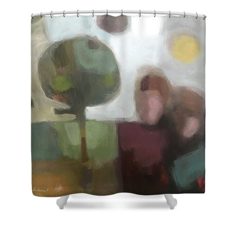 Landscape Shower Curtain featuring the painting Together by Farhan Abouassali