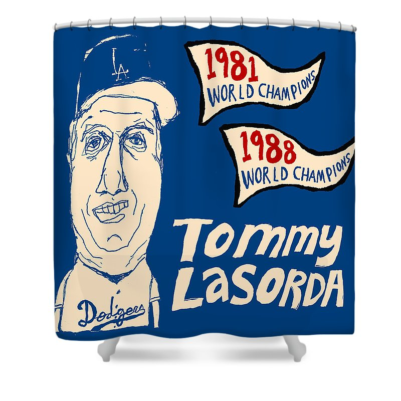 Los Angeles Dodgers Shower Curtain featuring the painting Tommy Lasorda Los Angeles Dodgers by JB Perkins