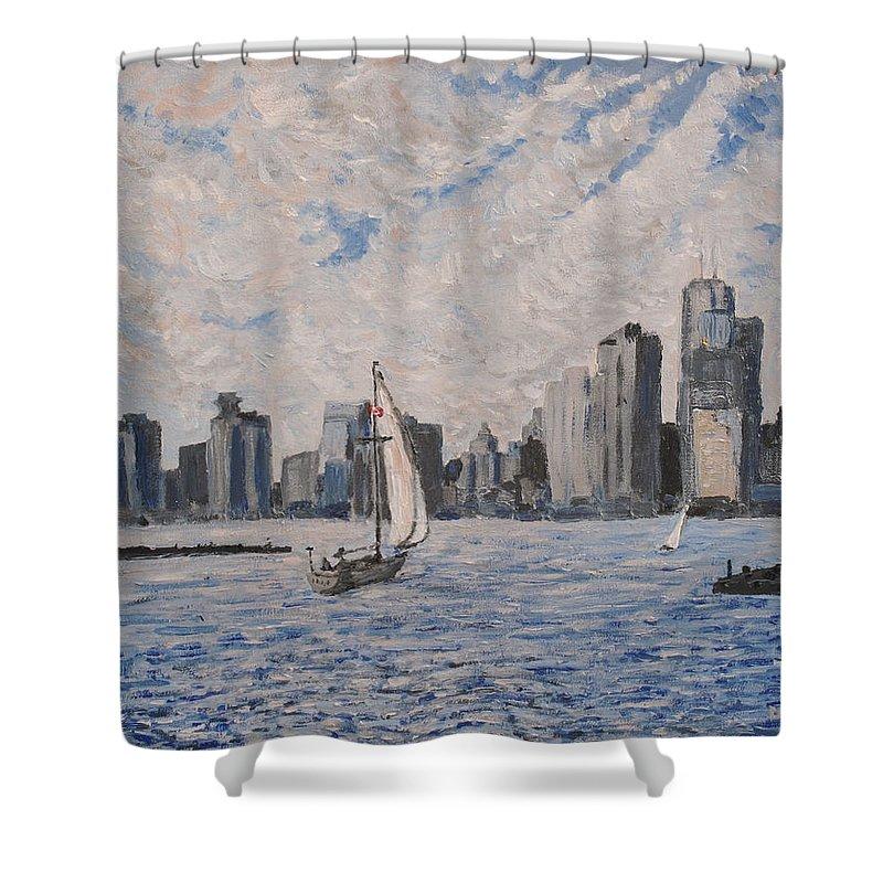 Toronto Shower Curtain featuring the painting Toronto Harbor East Gap by Ian MacDonald