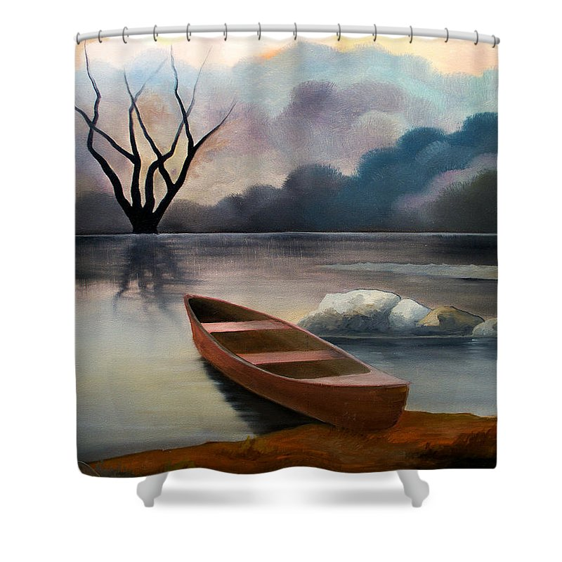 Duck Shower Curtain featuring the painting Tranquility by Sergey Bezhinets