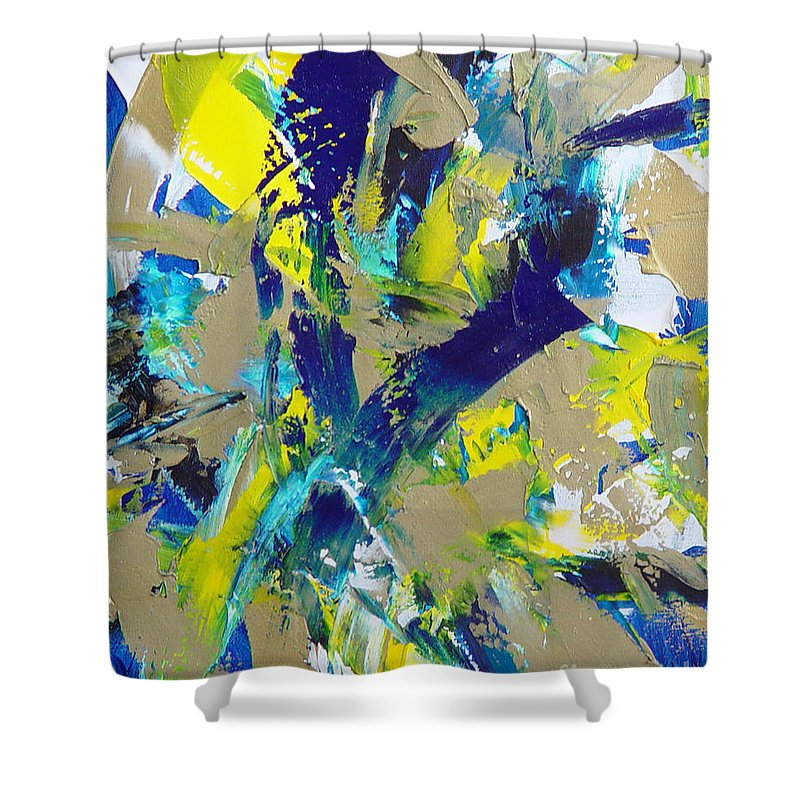 Abstract Shower Curtain featuring the painting Transitions IX by Dean Triolo