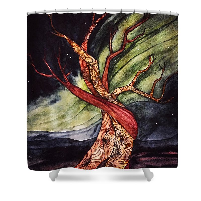 Tree Shower Curtain featuring the painting Tree with Northern Lights by Vonda Drees