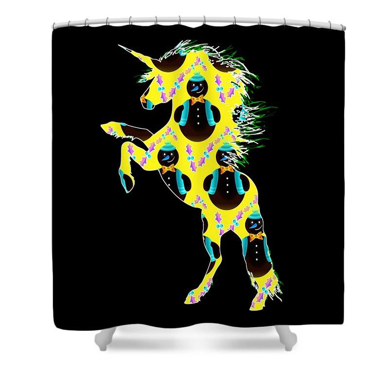 Unicorn Easter Shower Curtain featuring the digital art Unicorn 39 by Kaylin Watchorn