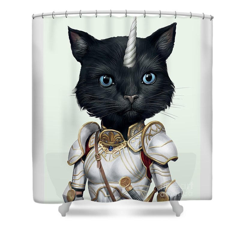 Unicorn Shower Curtain featuring the digital art Unicorn Black Cat by Trindira A