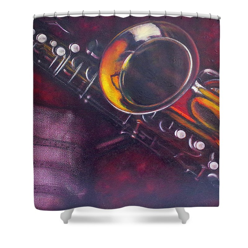 Oil Painting On Canvas Shower Curtain featuring the painting Unprotected Sax by Sean Connolly