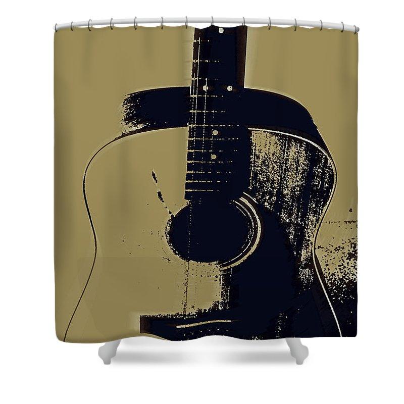 Vintage Guitar Art Shower Curtain featuring the photograph Vintage Guitar by Linda Sannuti