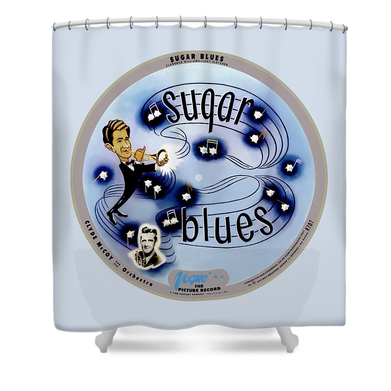Vogue Picture Record Shower Curtain featuring the digital art Vogue Record Art - R 707 - P 5, Blue Logo - Square Version by John Robert Beck