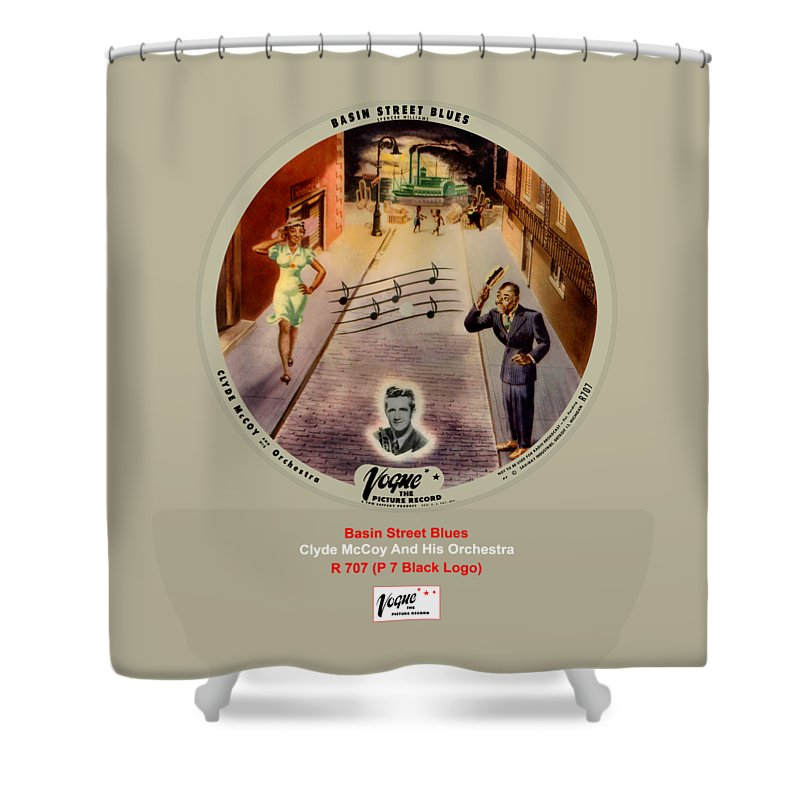 Vogue Picture Record Shower Curtain featuring the digital art Vogue Record Art - R 707 - P 7, Black Logo by John Robert Beck