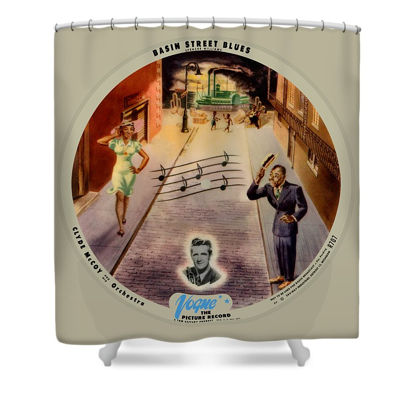 Vogue Picture Record Shower Curtain featuring the digital art Vogue Record Art - R 707 - P 7, Blue Logo - Square Version by John Robert Beck