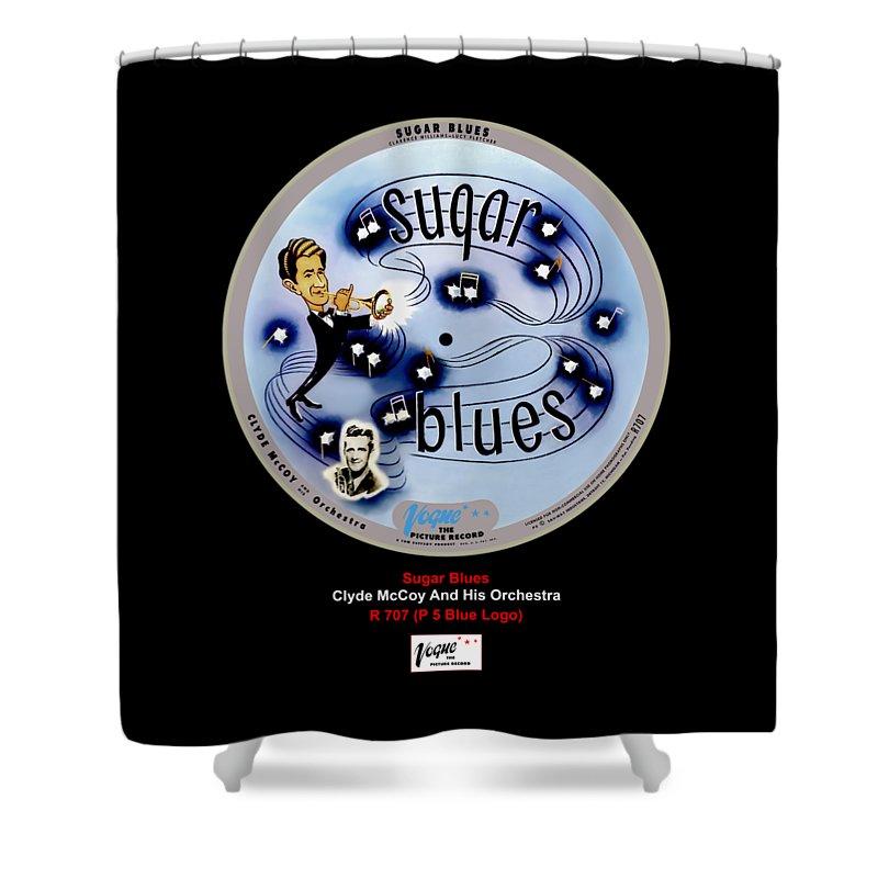 Vogue Picture Record Shower Curtain featuring the digital art Vogue Record Art - R 707 - P 7, Blue Logo by John Robert Beck