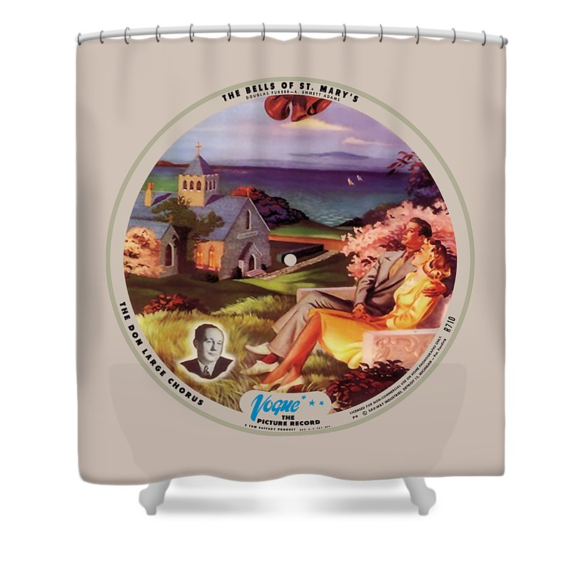 Vogue Picture Record Shower Curtain featuring the digital art Vogue Record Art - R 710 - P 9, Blue Logo - Square Version by John Robert Beck