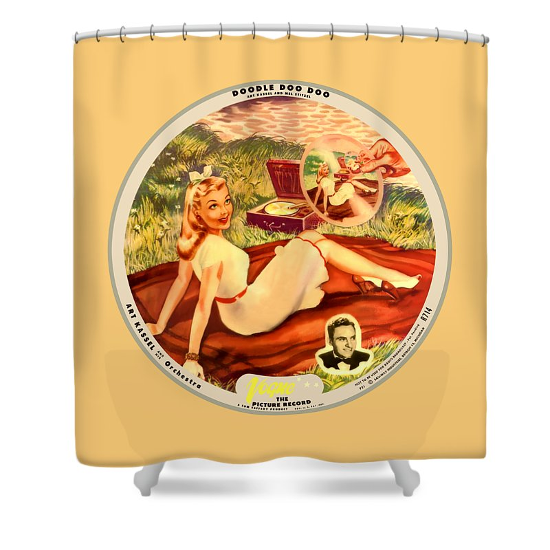 Vogue Picture Record Shower Curtain featuring the digital art Vogue Record Art - R 714 - P 21, Yellow Logo - Square Version by John Robert Beck