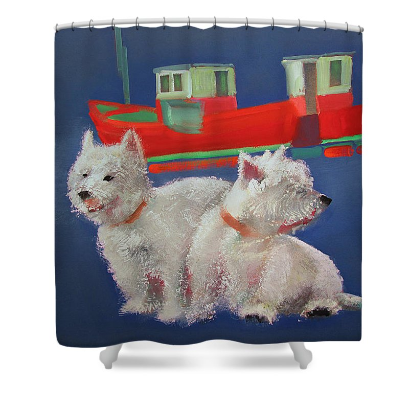 White Terriers Shower Curtain featuring the painting Walberswick Red Trawlers by Charles Stuart
