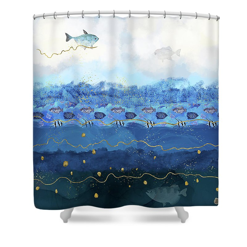 Global Warming Shower Curtain featuring the digital art Warming Oceans and Sea Level Rise by Andreea Dumez
