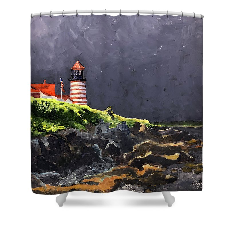 Lighthouse Shower Curtain featuring the painting West Quoddy Lighthouse by Dominic White