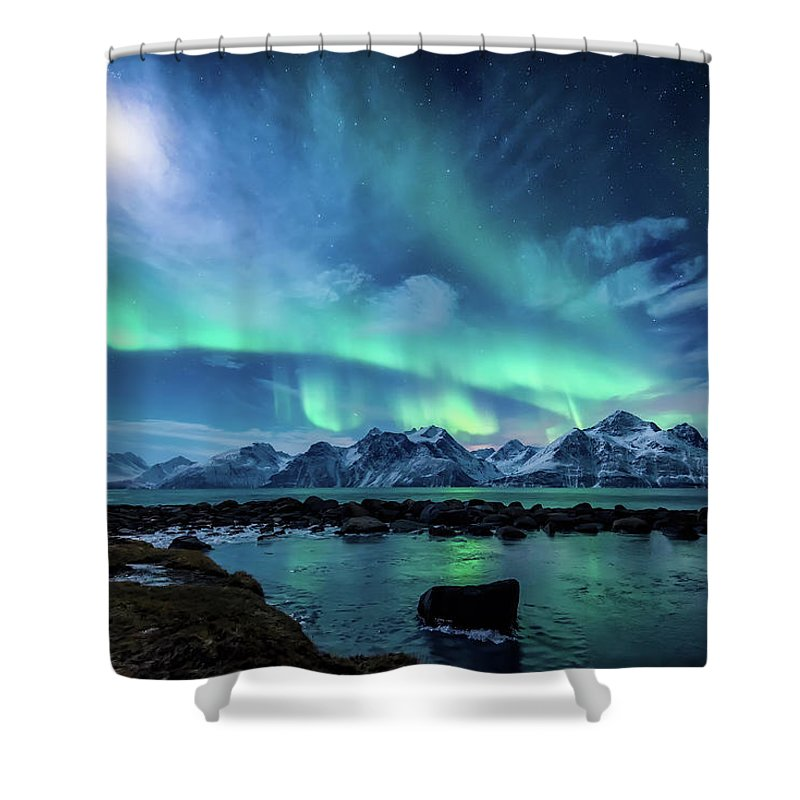 Moon Shower Curtain featuring the photograph When the moon shines by Tor-Ivar Naess